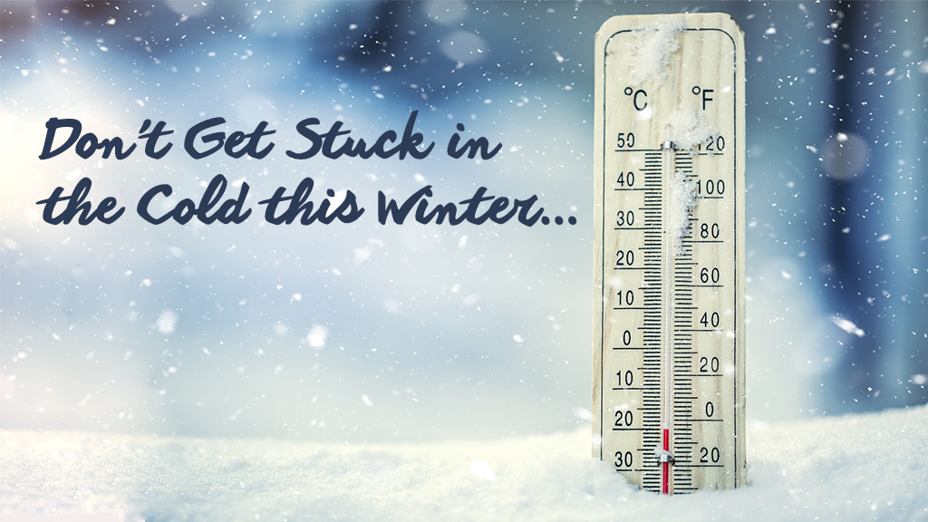 winter heating oil slider - image thermometer in snow
