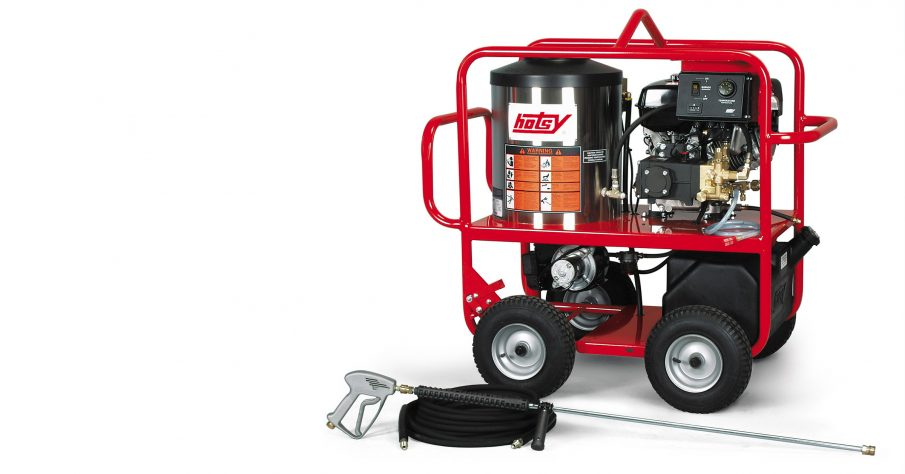 A hot water pressure washer, like this Hotsy, cuts through muck and grime much better than a traditional cold-water pressure washer.