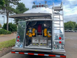 Carson showcased their new Freightliner fuel truck with the latest technology.